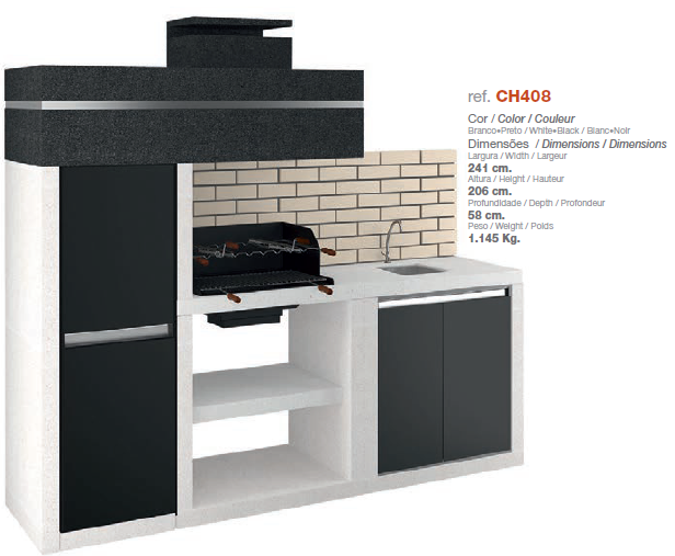 ch 408 barbecue avec hotte et plan de travail dpi. Black Bedroom Furniture Sets. Home Design Ideas